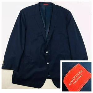 Samuelsohn Navy Pearl Button Loro Piana Wool 60L